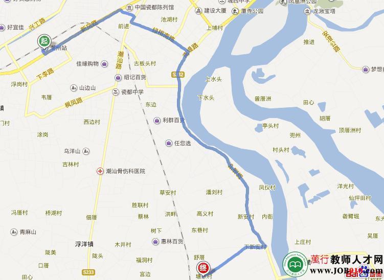 潮州火车站到龙湖镇塘东村